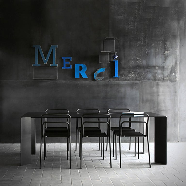 French Acier Black Dinning Table in Handcrafted Steel For Sale