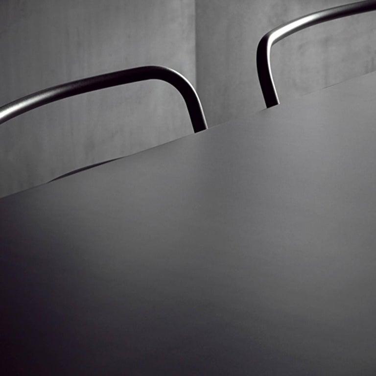 Acier Black Dinning Table in Handcrafted Steel For Sale 1