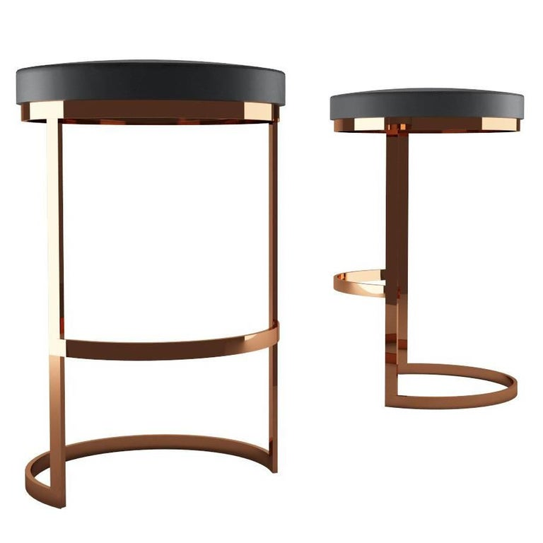 Italian Ola Counter Stool Luxury Modern Style in Steel and Leather For Sale