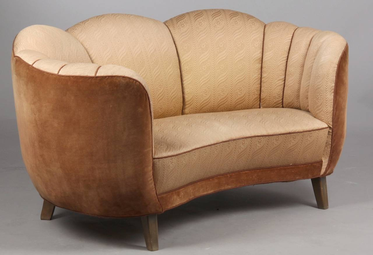 Swedish art deco curved sofa at 1stdibs Curved loveseat sofa