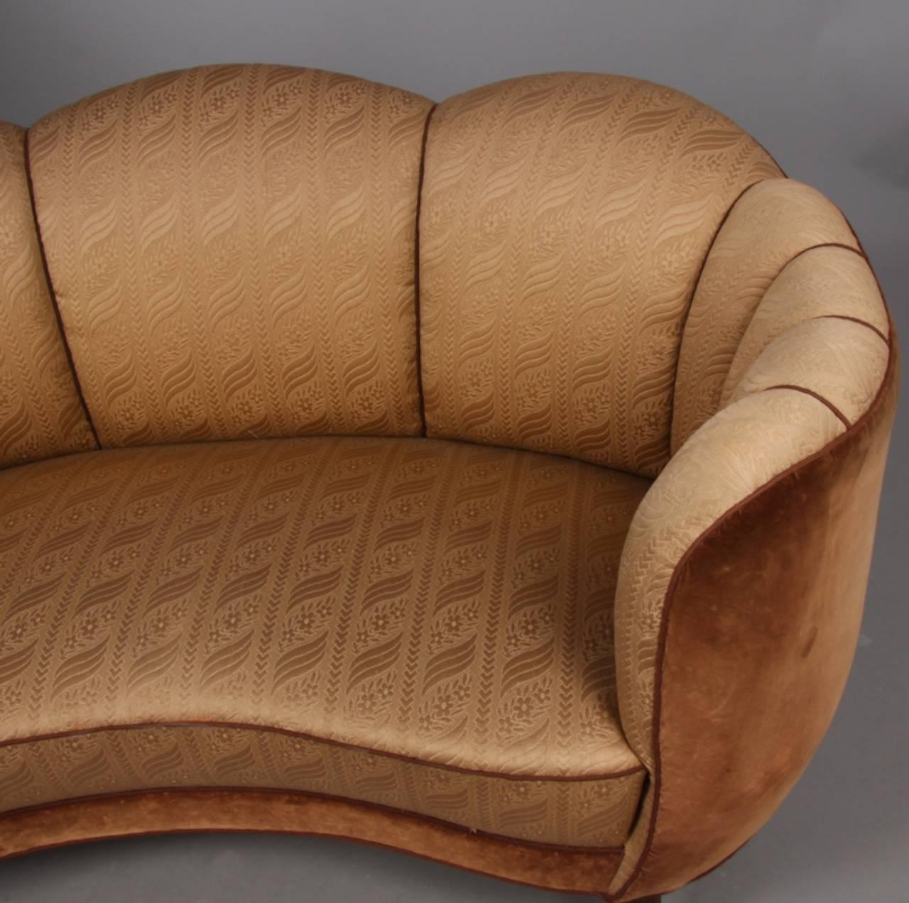 Swedish Art Deco Curved Sofa 3