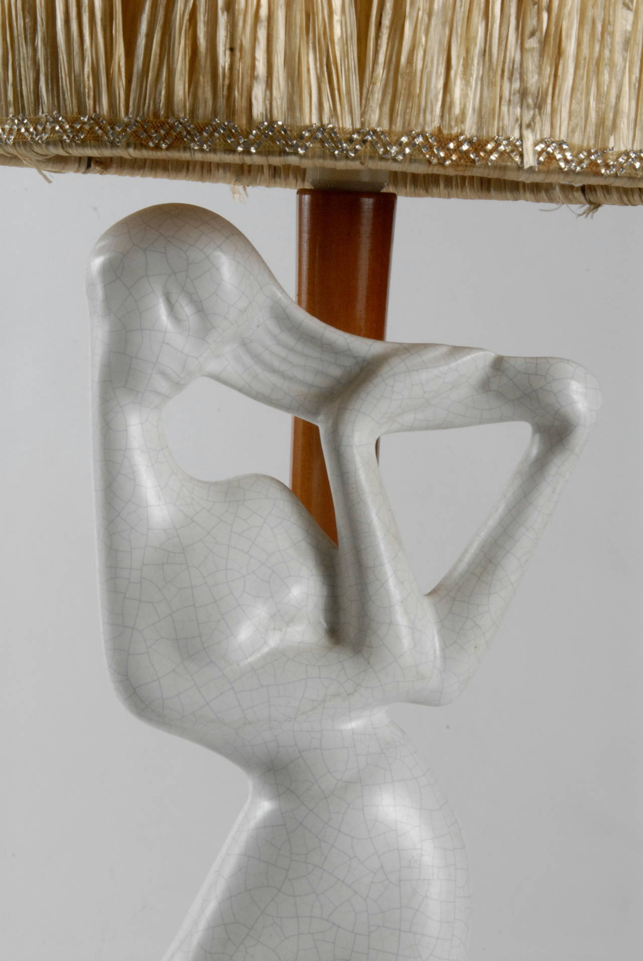 Molded Barsony, 1950s Tall White Lady Lamp For Sale