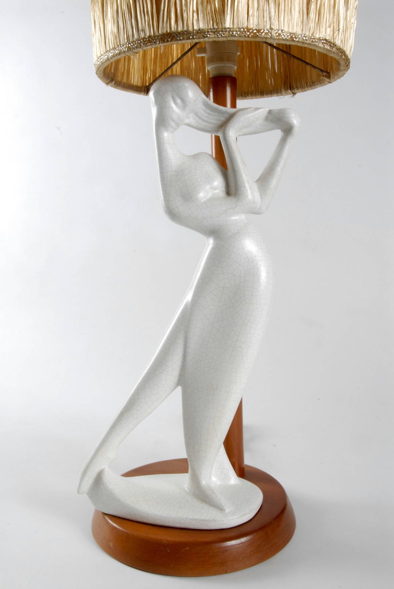 Mid-Century Modern Barsony, 1950s Tall White Lady Lamp For Sale
