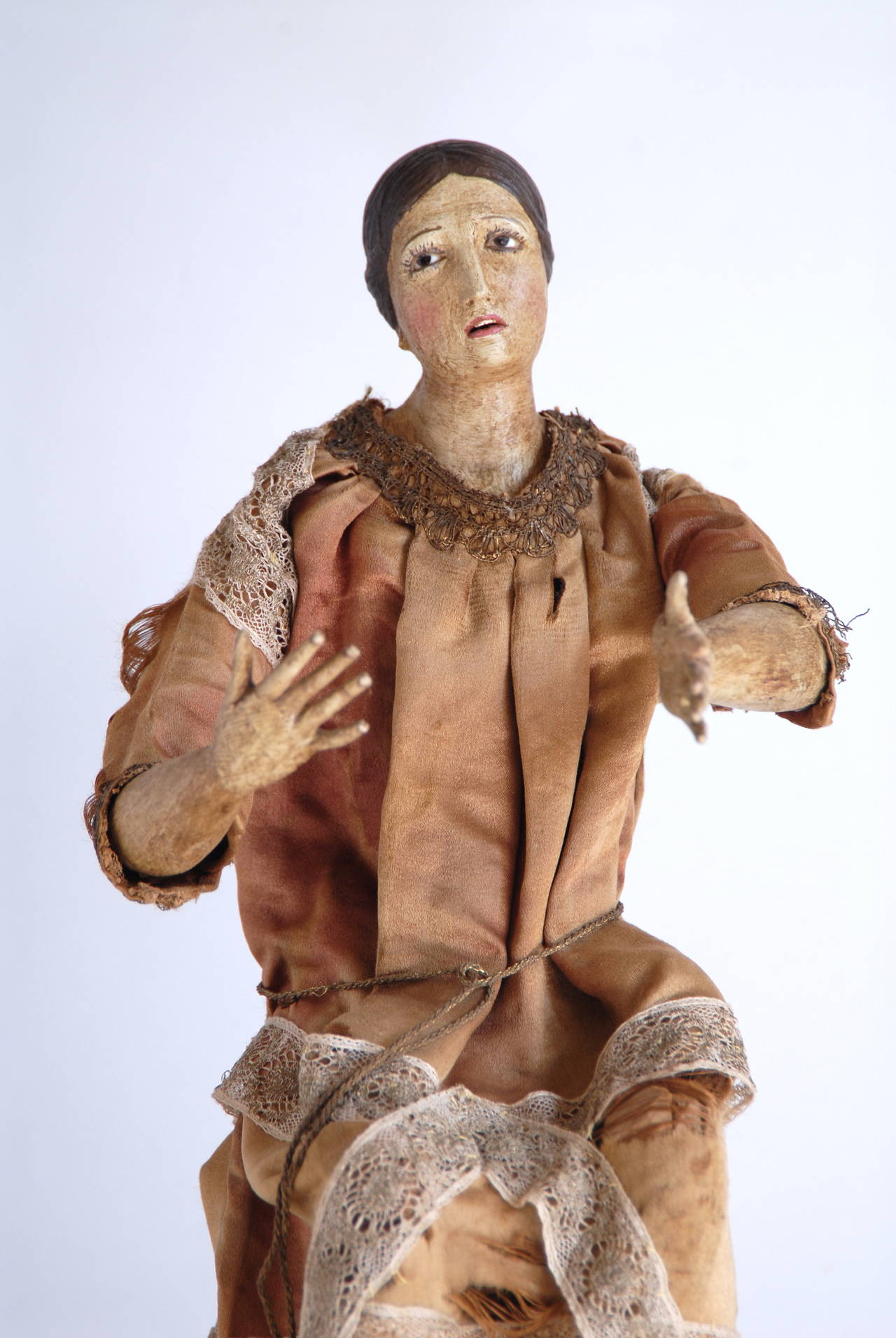 Fabric 19th Century Italian Nativity Female Figure For Sale