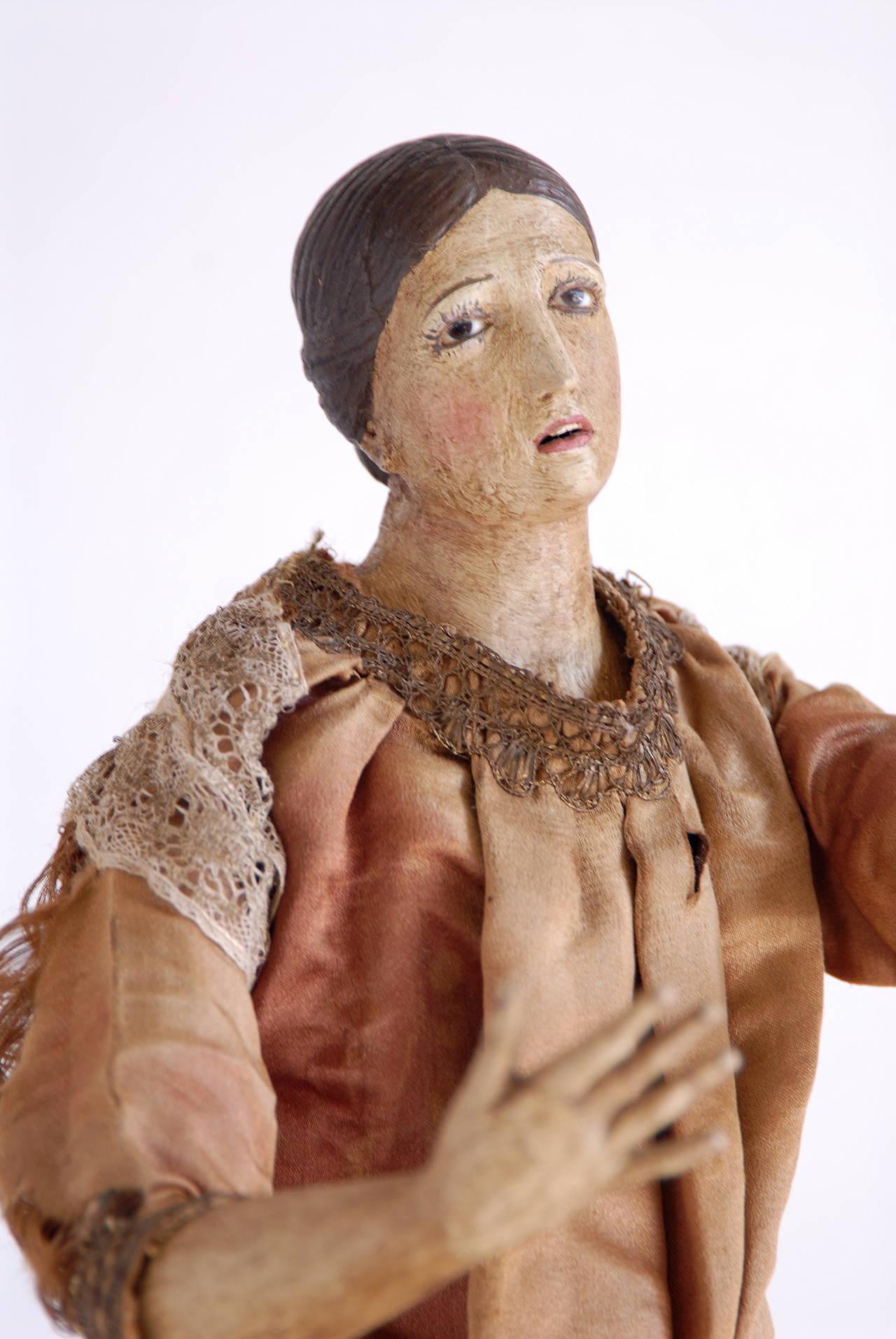 Carved 19th Century Italian Nativity Female Figure For Sale