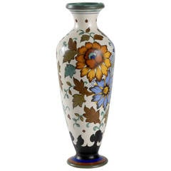 Gouda 1950s Hand Painted Large Vase
