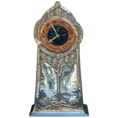Arts & Crafts Liberty Pewter Clock by David Veasey, 1903