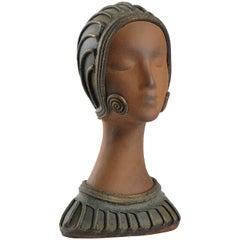 Mid-20th Century Terracotta Deco Style Head