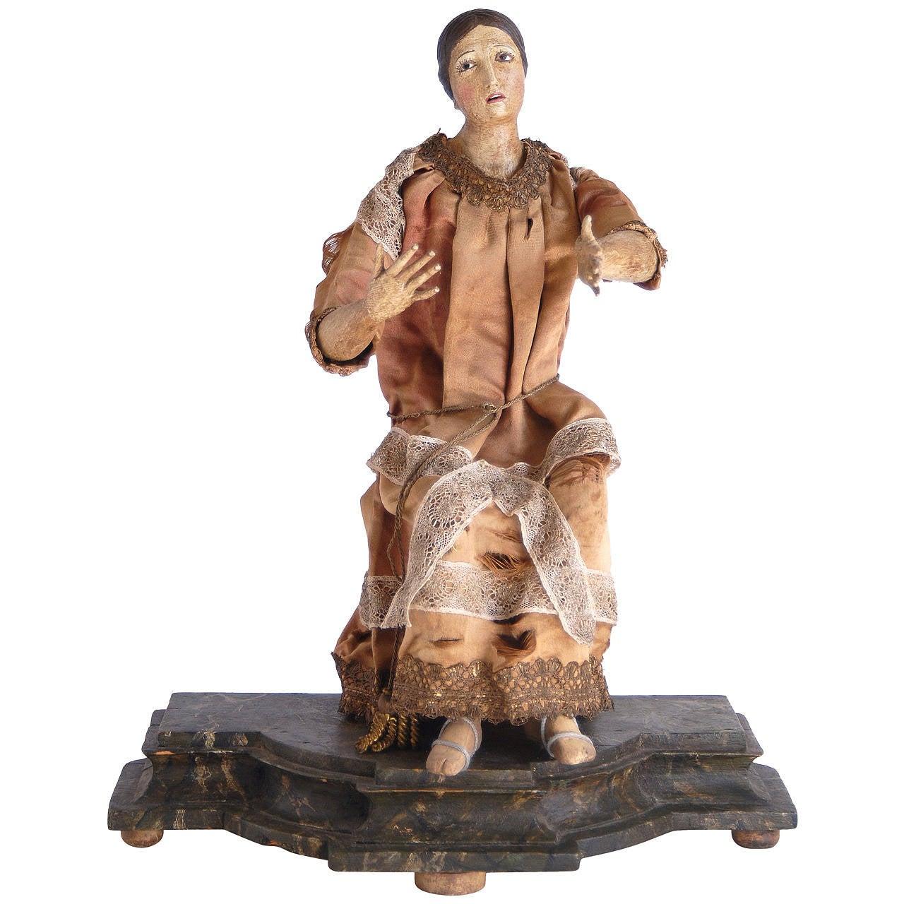 19th Century Italian Nativity Female Figure For Sale