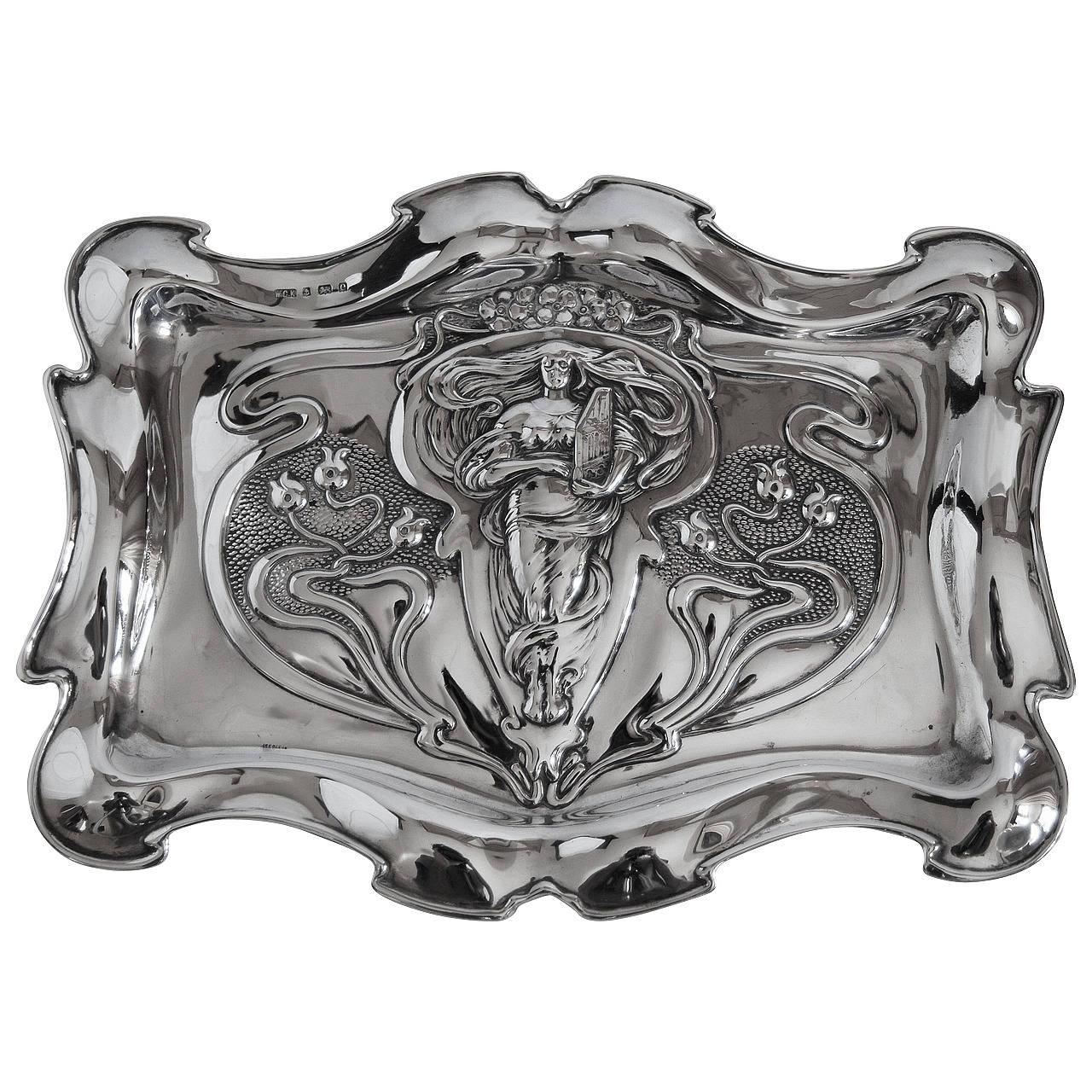 Arts & Crafts English Silver Tray