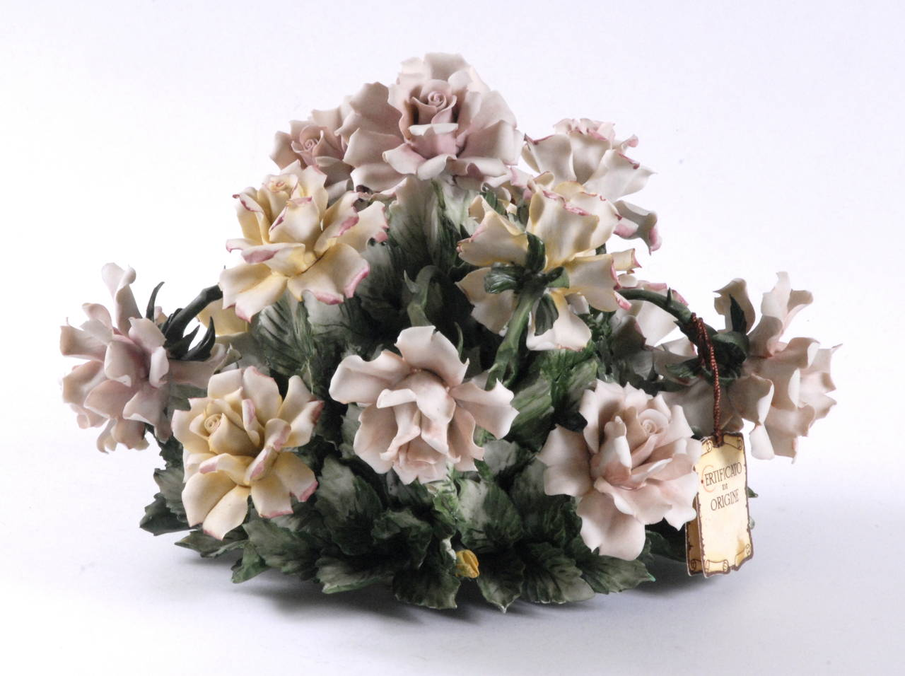 Mid 20th Century Capodimonte Roses Table Centre At 1stdibs