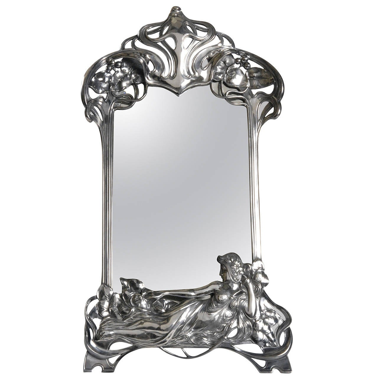 art nouveau wmf silver plated toilet mirror circa 1906 for sale at 1stdibs. Black Bedroom Furniture Sets. Home Design Ideas