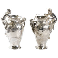 WMF Pair of Flower Vases, circa 1906 Germany