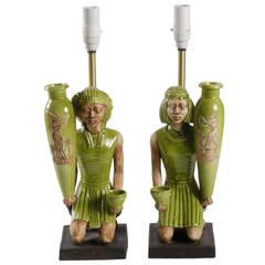 Mid-century pair Italian ceramic lamp bases.