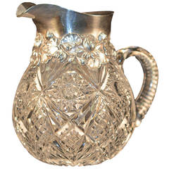 American Brilliant Cut-Glass Pitcher with Large Gorham Sterling Mount