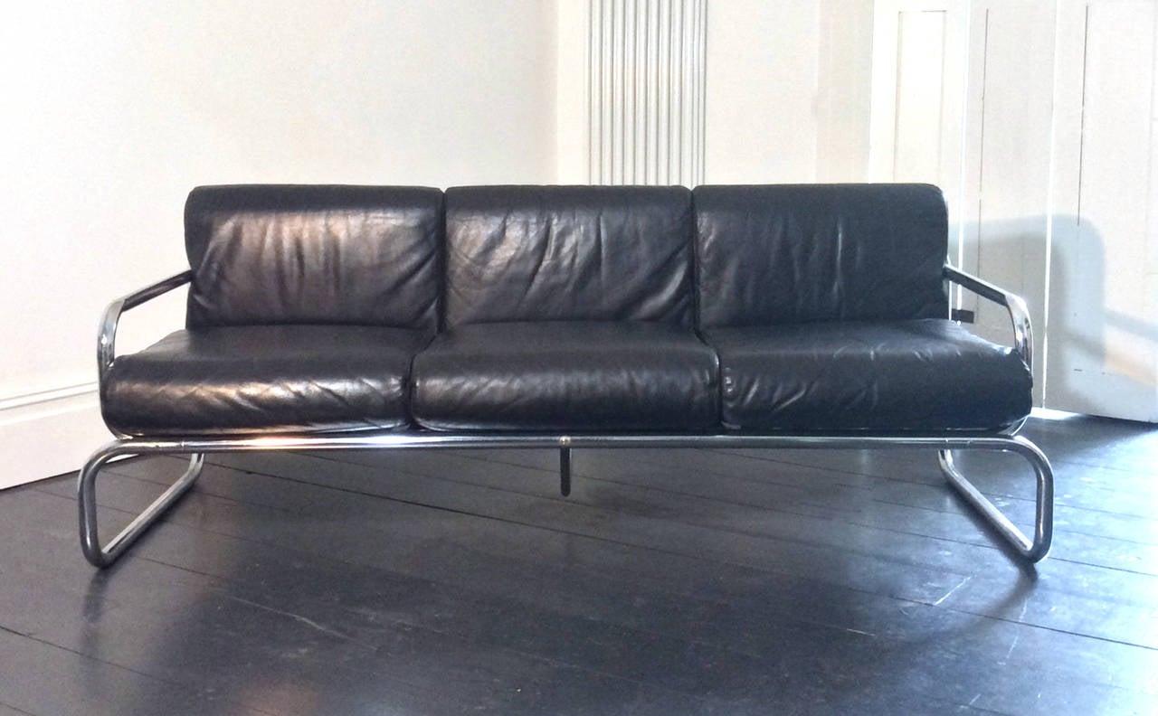 Chrome And Leather Sofa By Rodney Kinsman England 1960s
