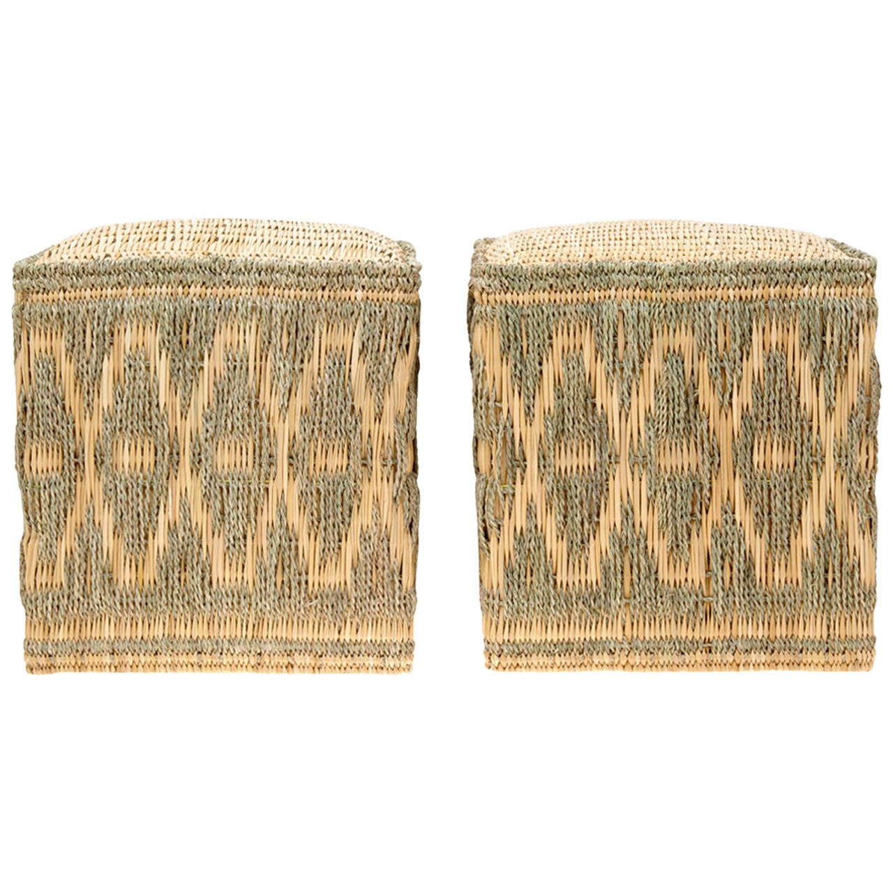 Pair of Wicker Stools with Cord Decorations at 1stdibs : 2114082l from www.1stdibs.com size 1280 x 1280 jpeg 225kB