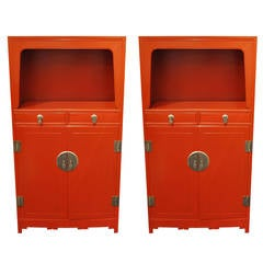 Pair of Red Lacquered Baker Far East Collection Tall Cabinets