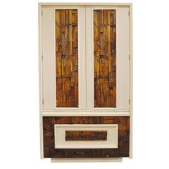 Lacquered Large Brutalist Armoire by Lane