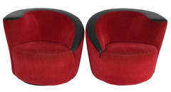 Pair of Vladimir Kagan Style Red Swivel Chairs