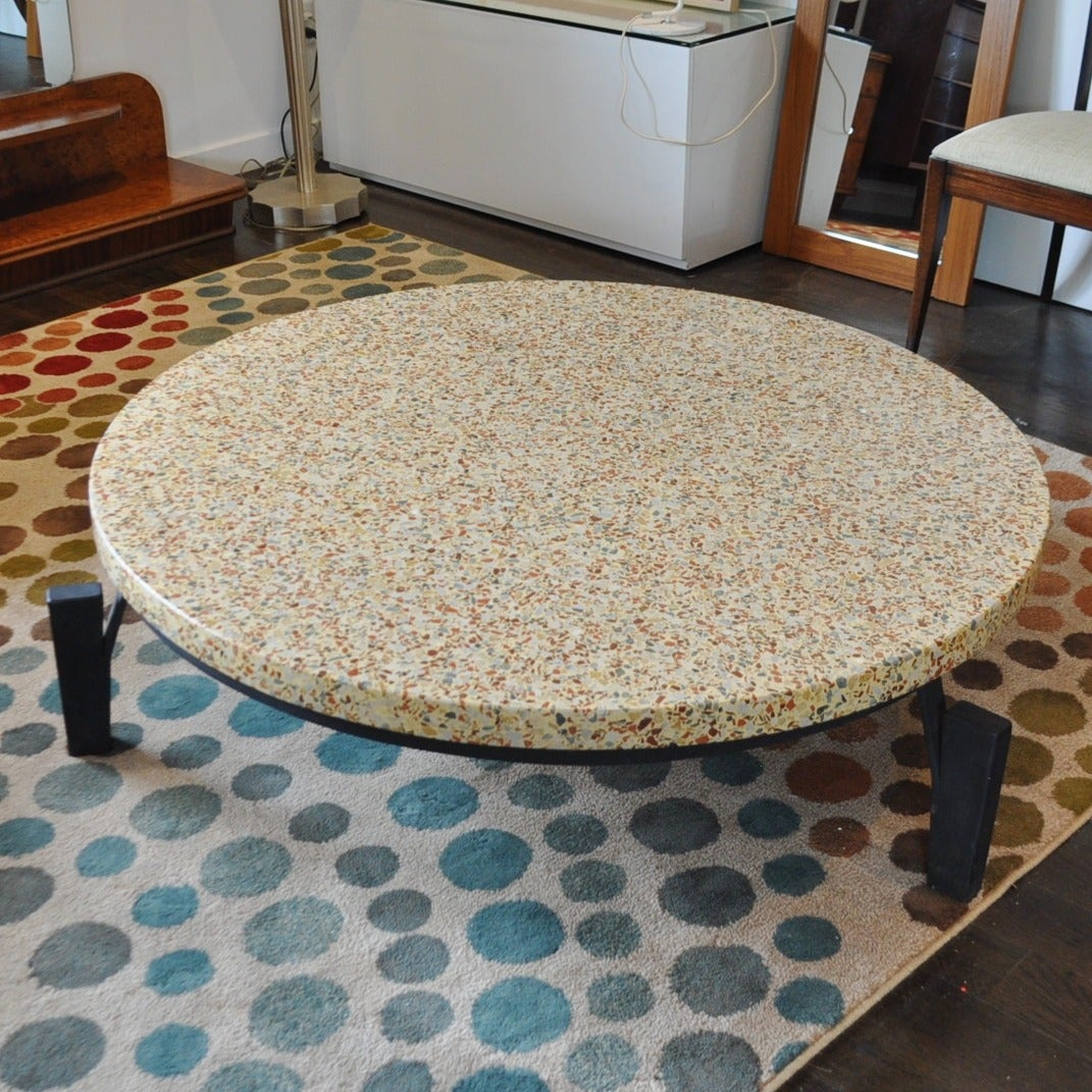 Mid century modern terazzo coffee table in the style of jean prouve at 1stdibs - Jean prouve coffee table ...