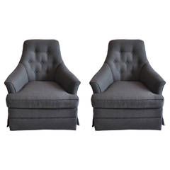 Pair of Hollywood Regency Tufted Club Chairs