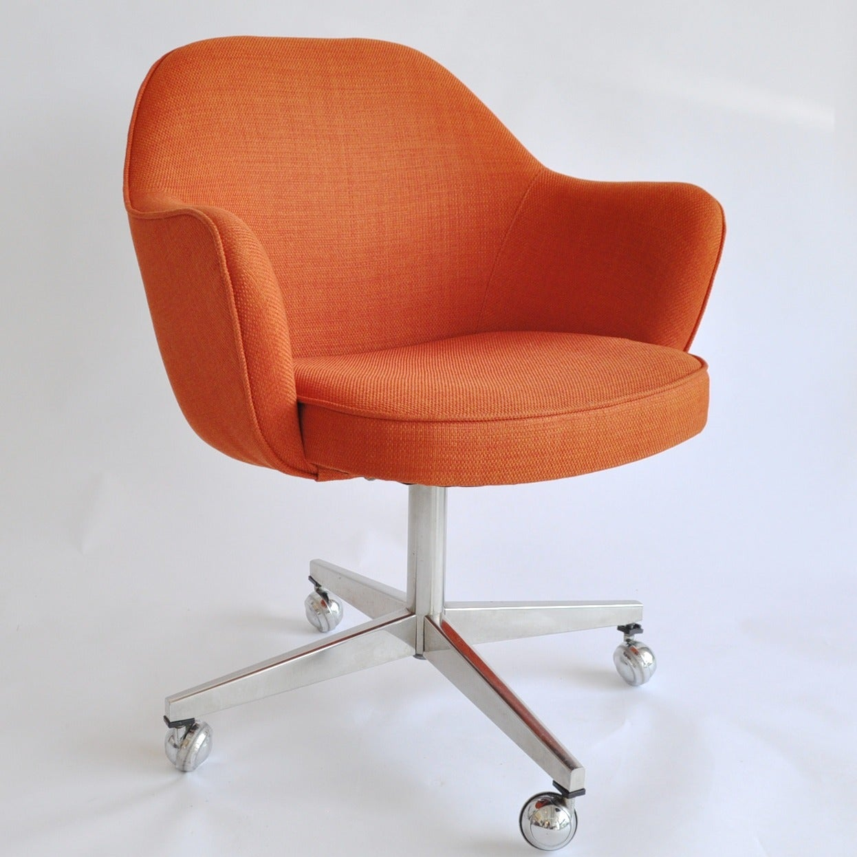 Saarinen Style Orange Linen Desk Chairs at 1stdibs