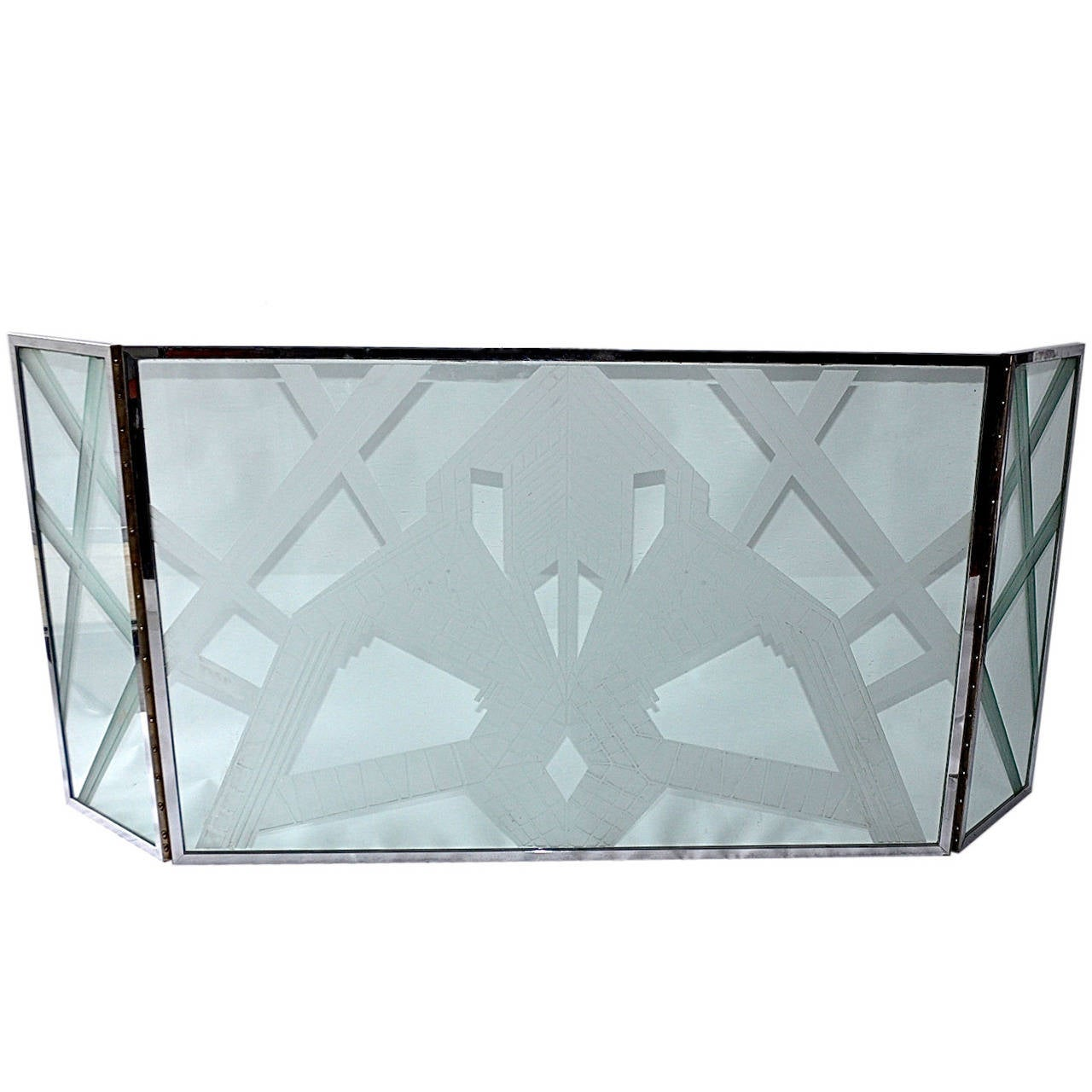 Art Deco Etched Glass Fire Screen At 1stdibs