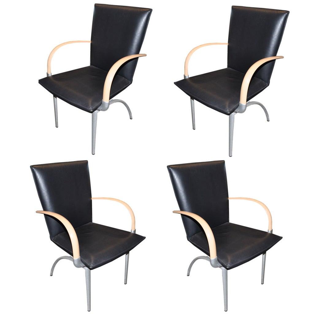 set of four rolf benz black leather armchairs at 1stdibs. Black Bedroom Furniture Sets. Home Design Ideas
