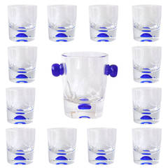 Set of 12 Lowball Glasses and Ice Bucket by Carole Stupell