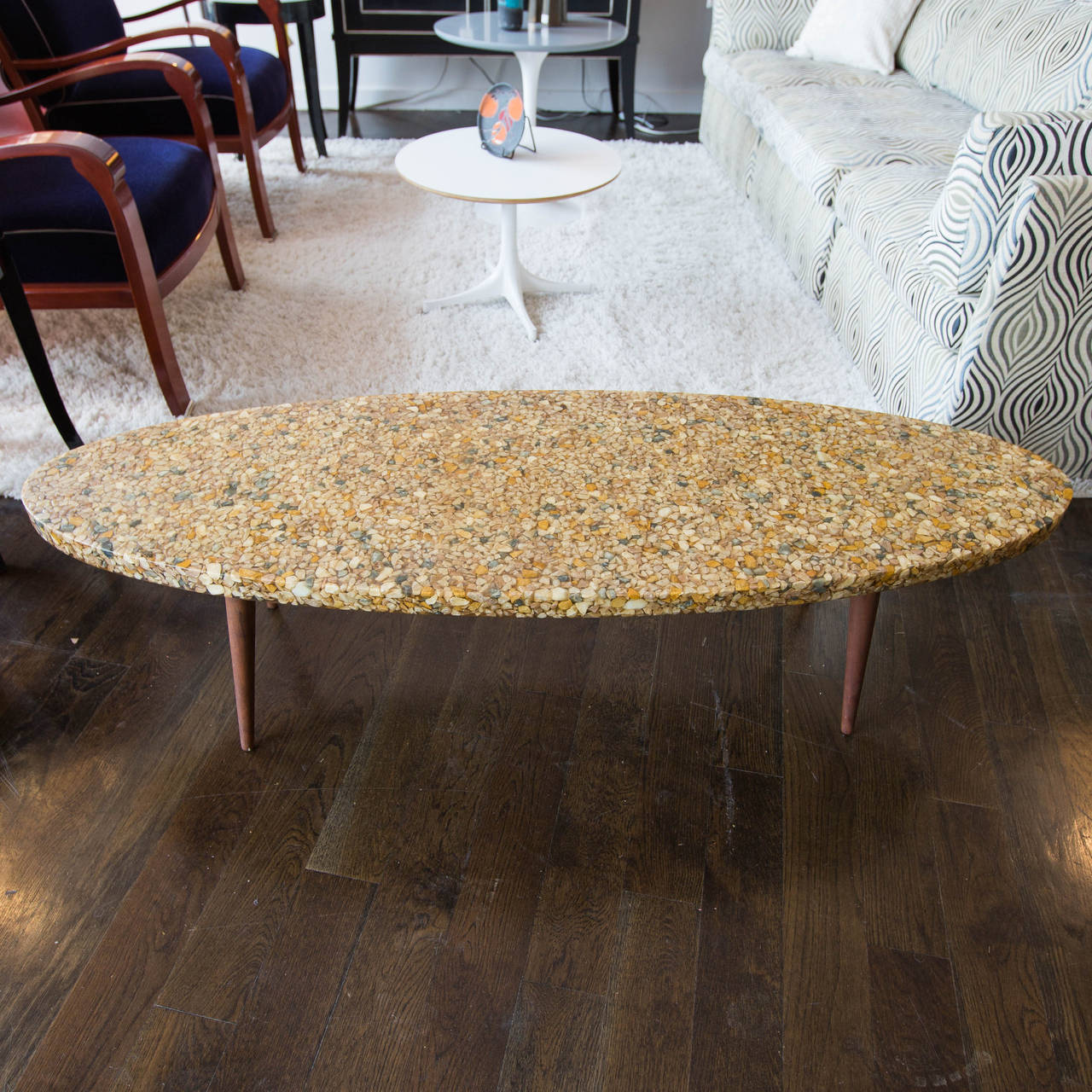vintage surfboard coffee table made of river rock in resin at 1stdibs