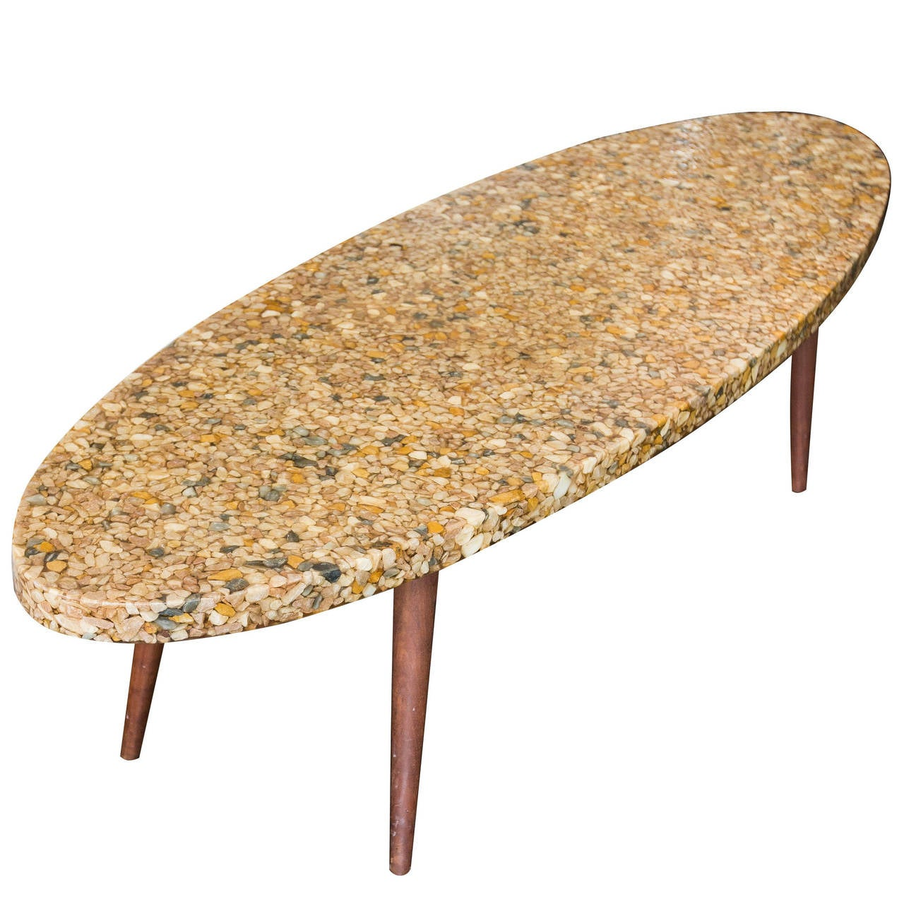 Vintage Surfboard Coffee Table Made Of River Rock In Resin For