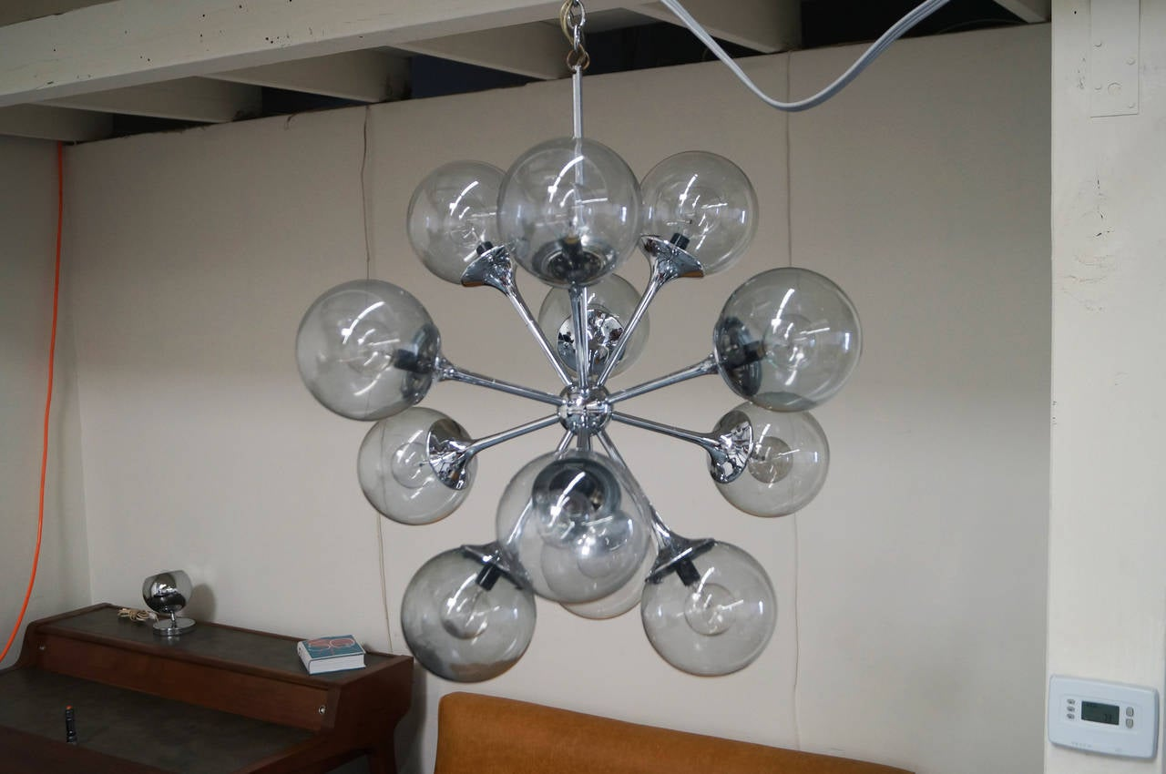 Vintage chrome sputnik chandelier at 1stdibs mid century modern vintage chrome sputnik chandelier for sale mozeypictures Image collections