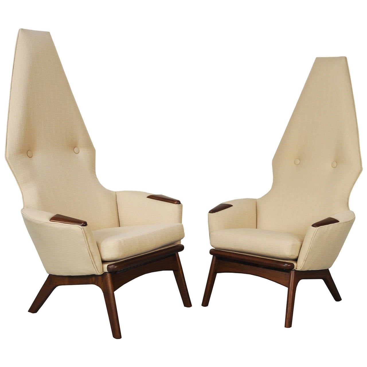 Vintage High Back Lounge Chairs By Adrian Pearsall At 1stdibs