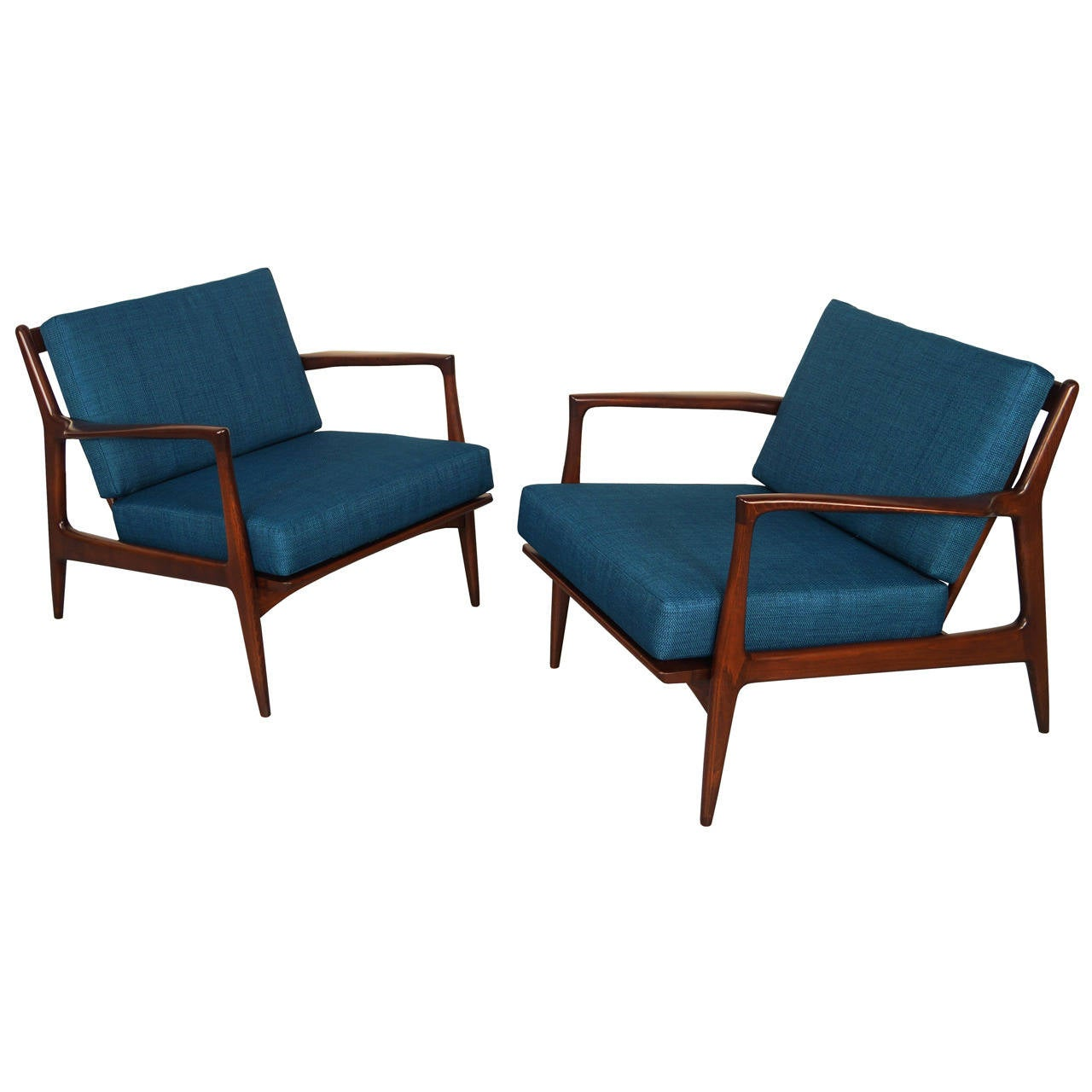 This sculptural pair of lounge chairs by ib kofod larsen is no longer - Danish Modern Lounge Chairs By Ib Kofod Larsen 1