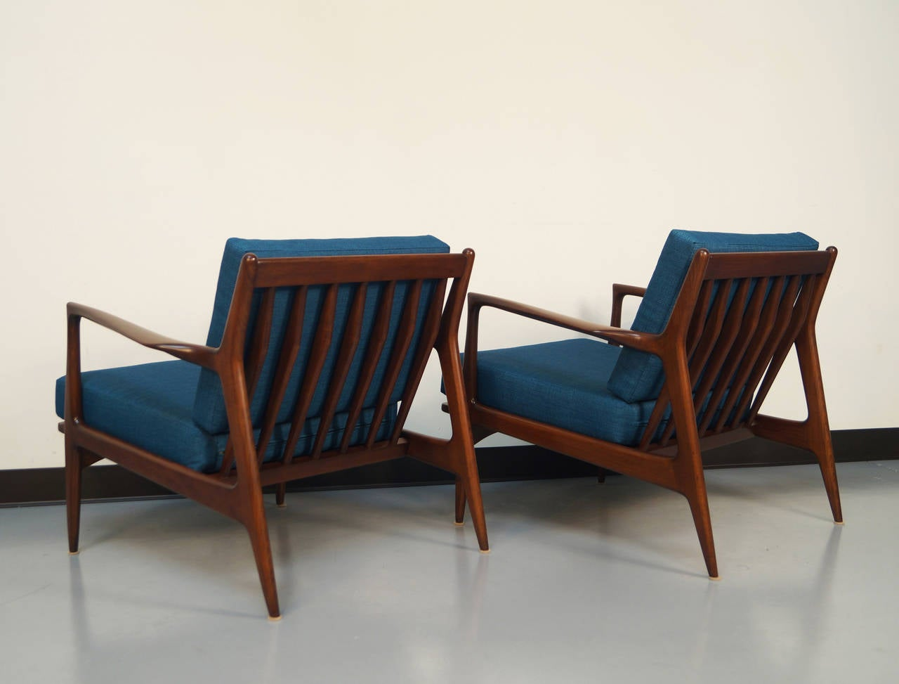 This sculptural pair of lounge chairs by ib kofod larsen is no longer - Danish Modern Lounge Chairs By Ib Kofod Larsen 2