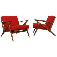 "Poul Jensen for Selig ""Z"" Lounge Chairs"