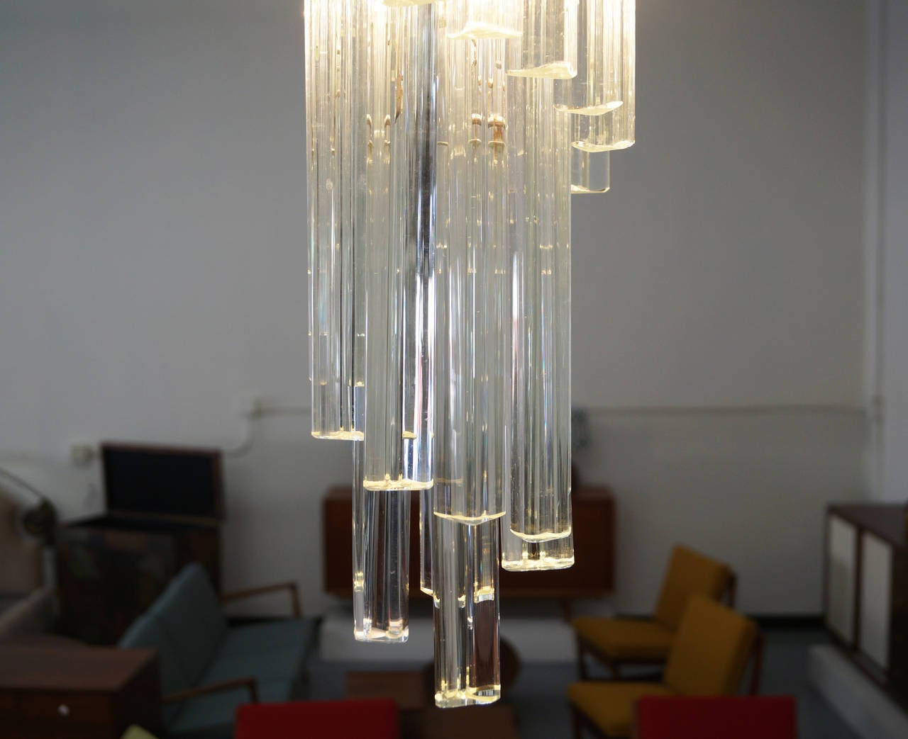 Mid-20th Century Vintage Spiral Murano Glass Chandelier by Venini For Sale