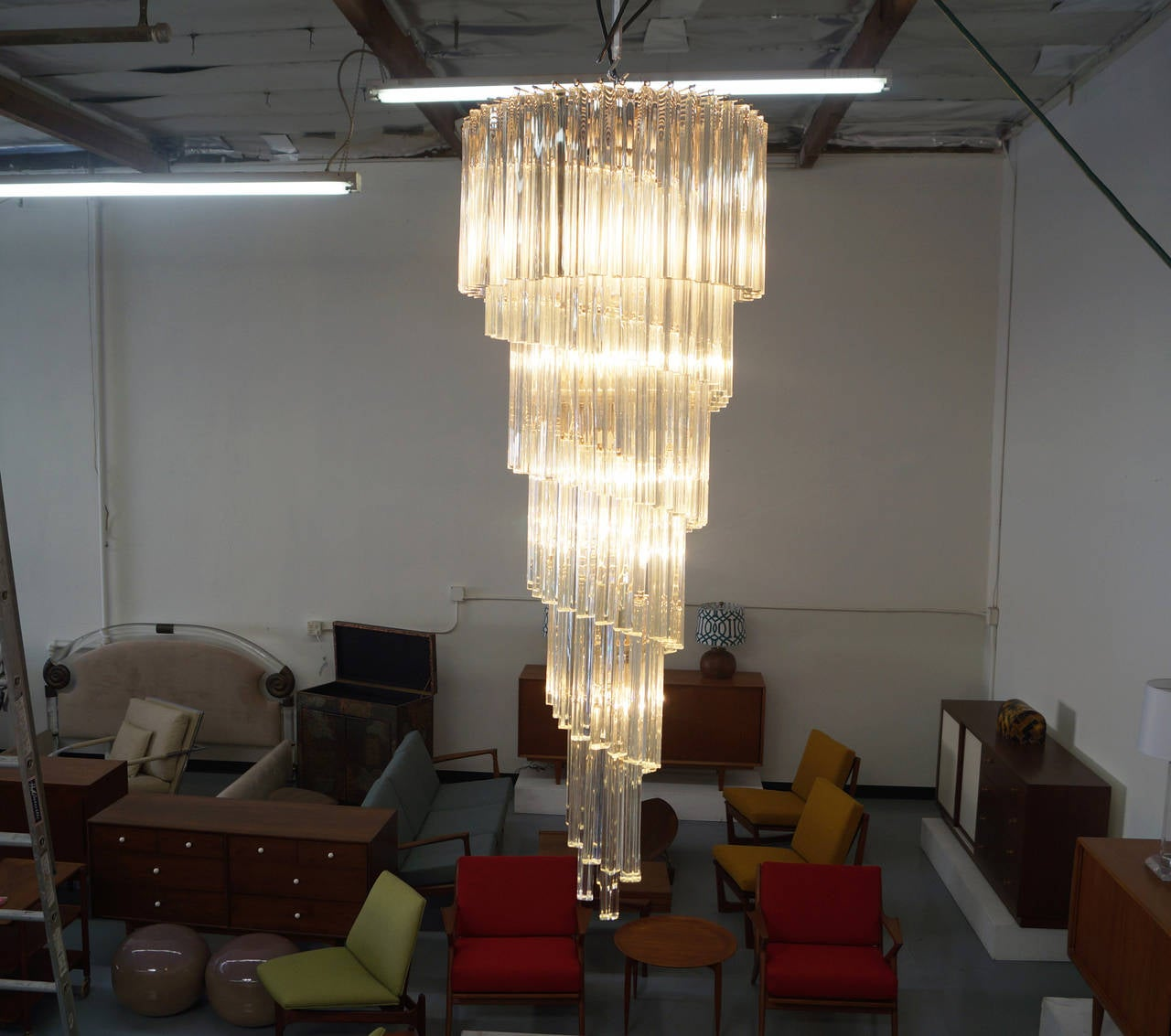 Vintage Spiral Murano Glass Chandelier by Venini For Sale 2