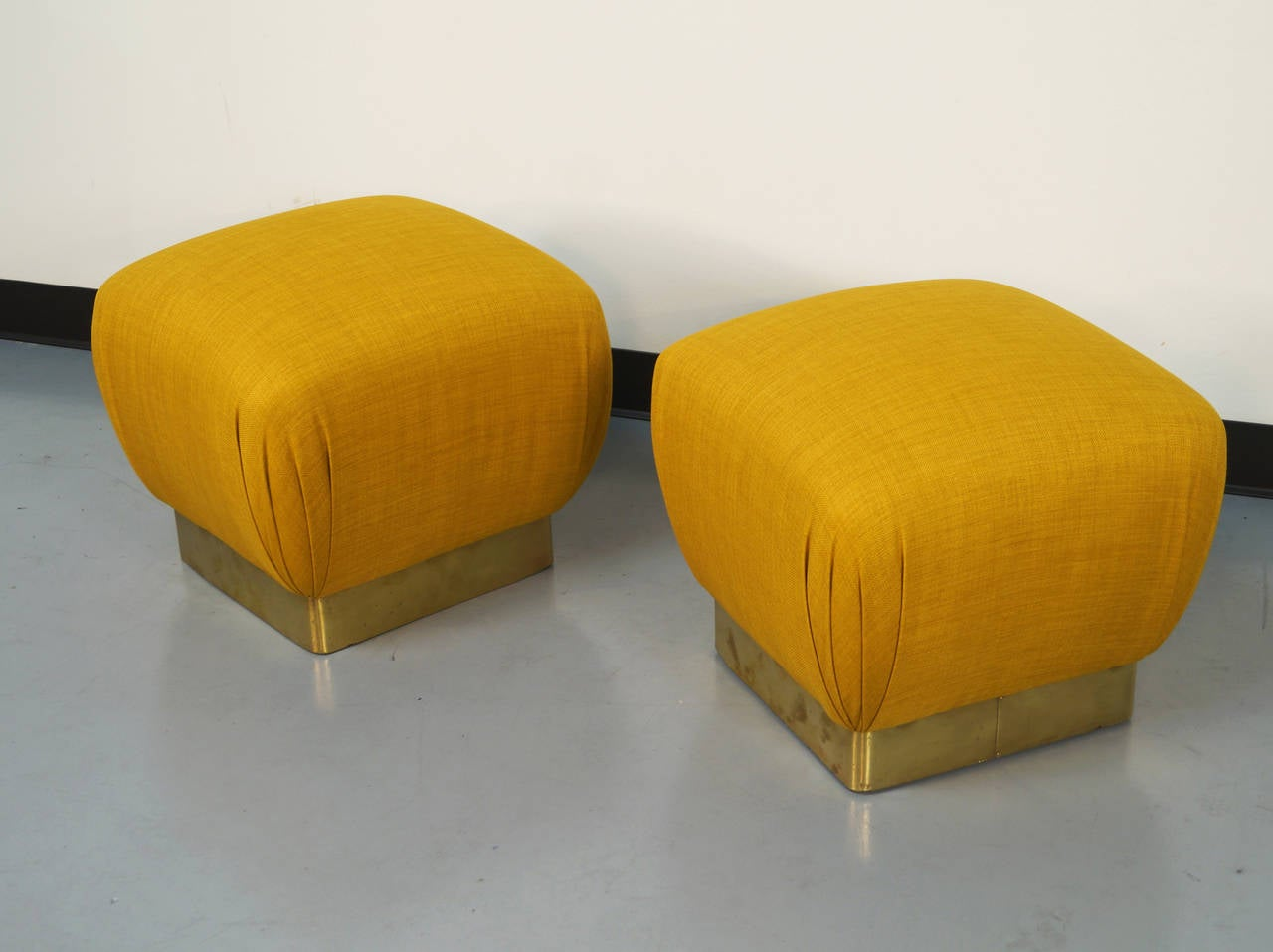 vintage brass poufs or ottomans by marge carson at 1stdibs. Black Bedroom Furniture Sets. Home Design Ideas