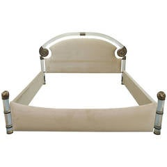 Vintage Lucite and Brass King-Size Bed by Marcello Mioni