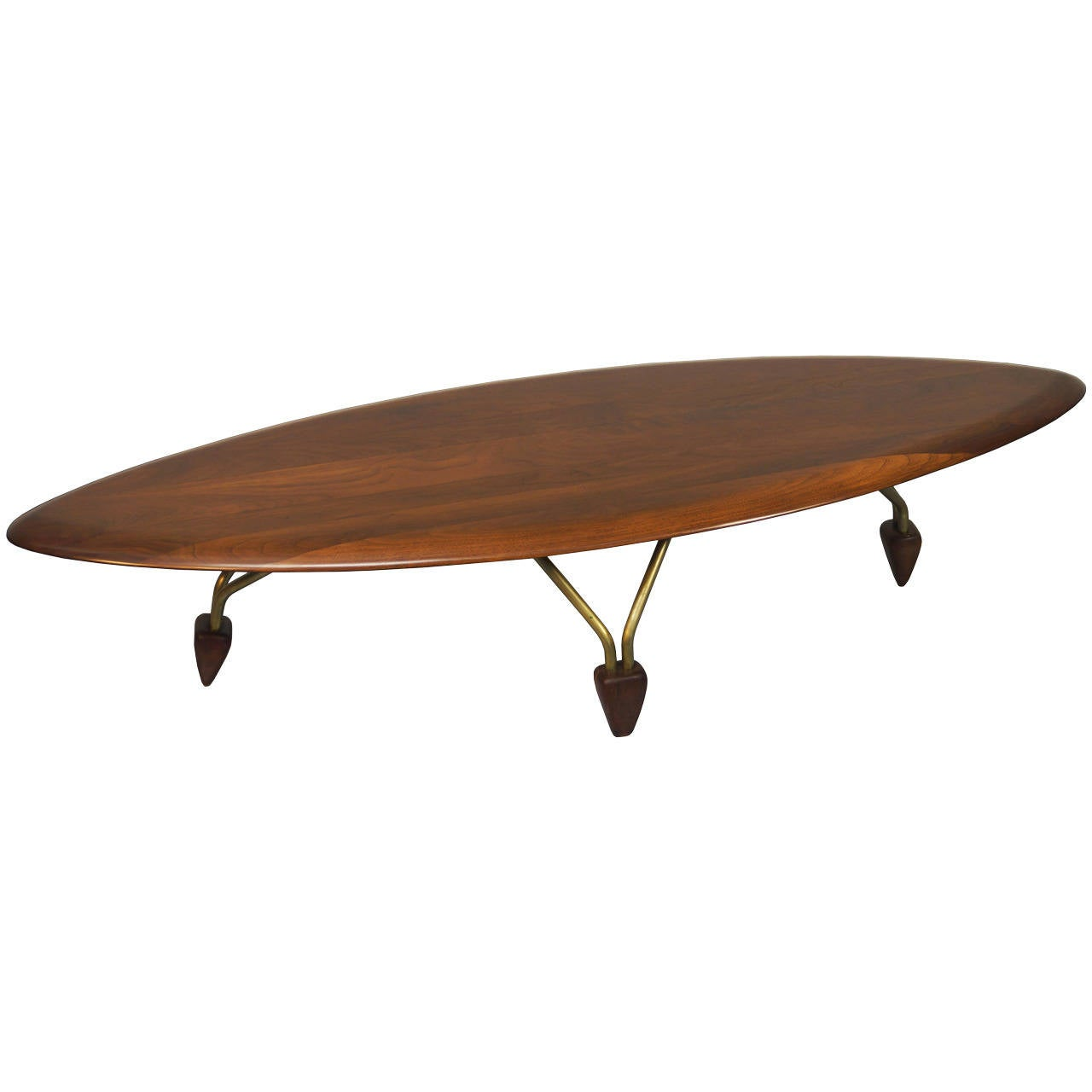 Vintage Walnut Surfboard Coffee Table By John Keal At 1stdibs