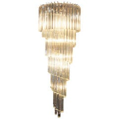 Spiral Murano Glass Chandelier by Venini