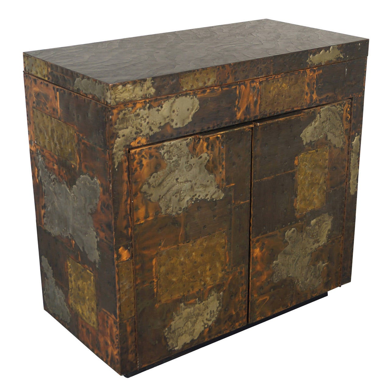 Exceptional Patchwork Flip Top Bar Cabinet By Paul Evans For