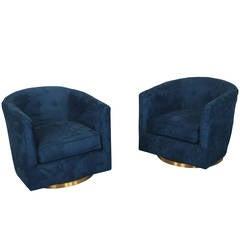 Vintage Brass Swivel Lounge Chairs