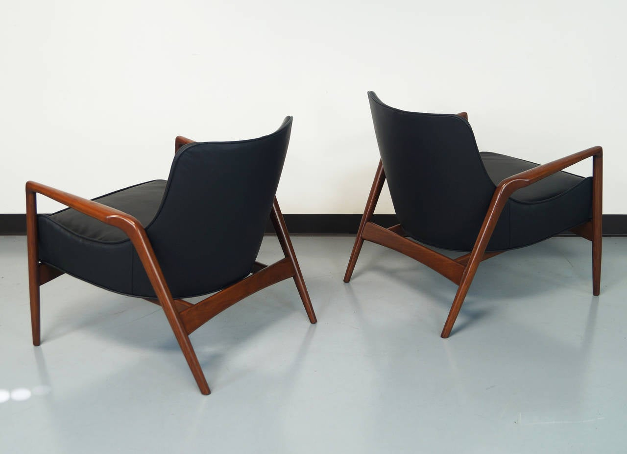 danish modern leather lounge chairs by ib kofod larsen danish modern