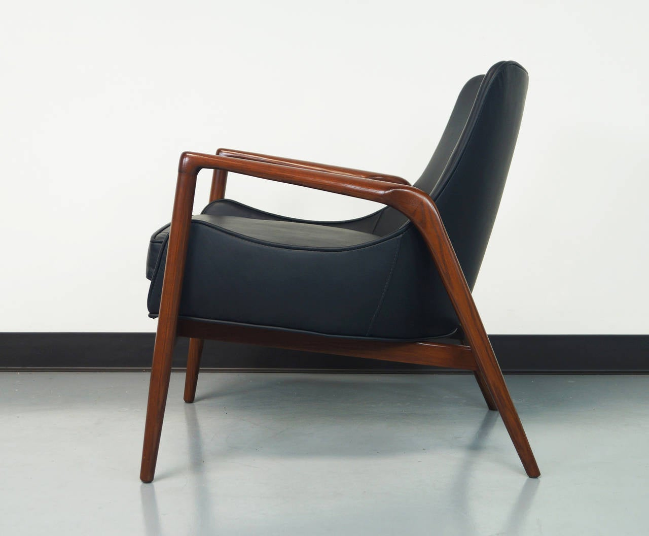 Danish modern leather lounge chairs by ib kofod larsen at for Contemporary leather lounge chairs