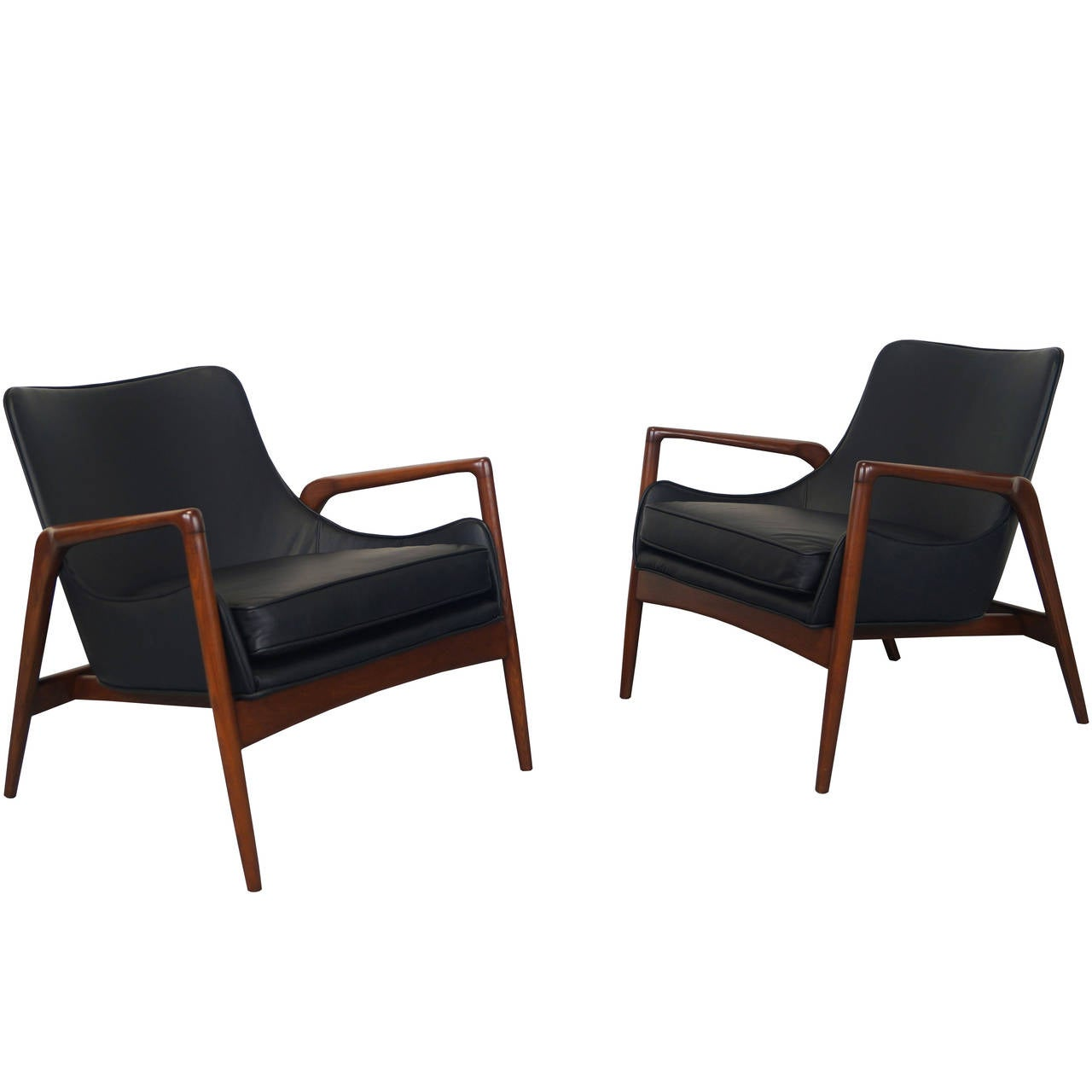 Modern leather lounge chair mid century modern walnut for Stylish lounge chairs
