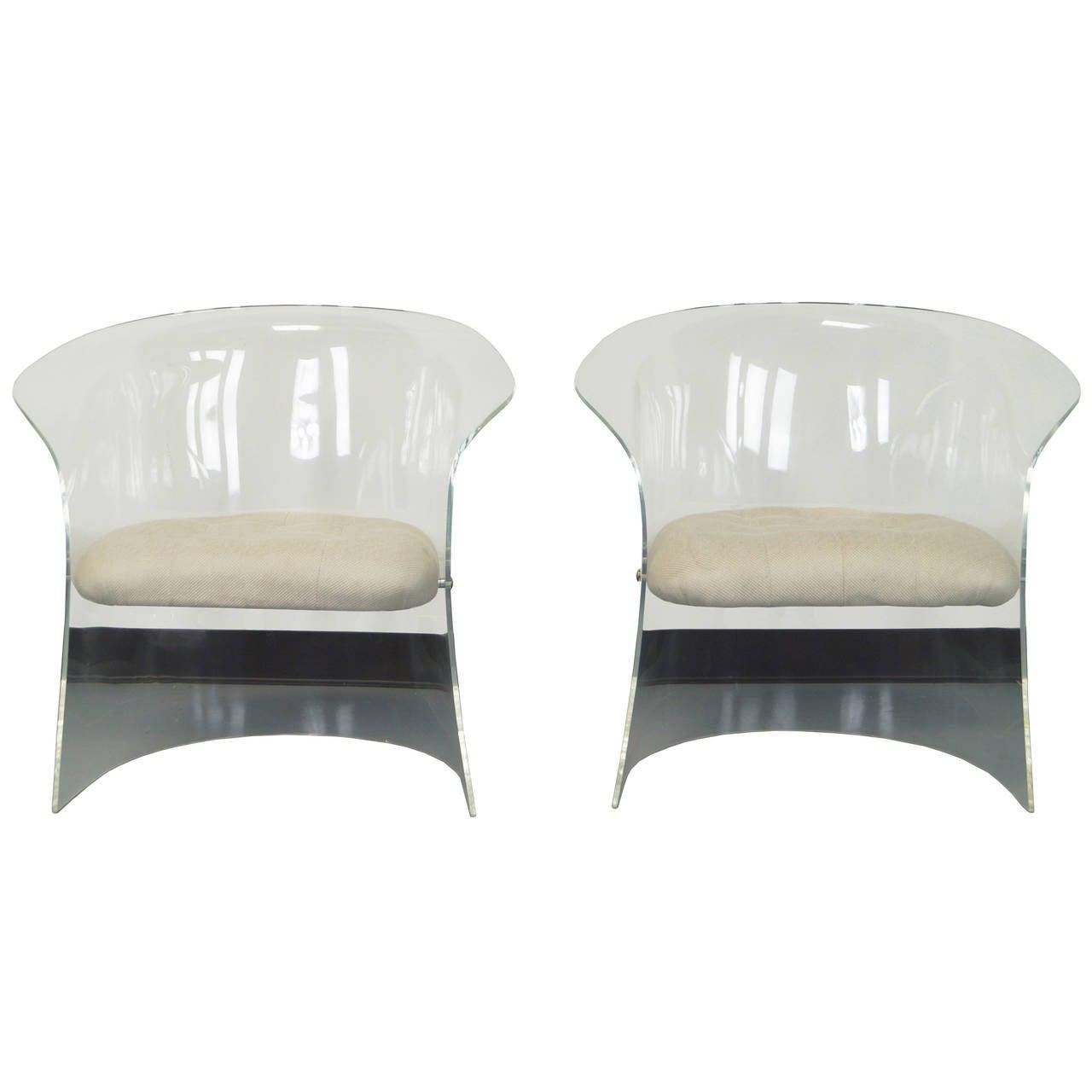vintage flexuous lucite chairs 1
