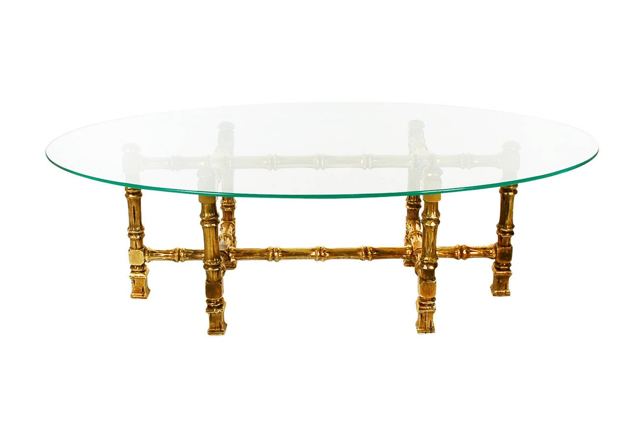 Hollywood Regency Giltwood and Oval Glass Coffee Table 2